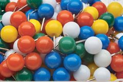 Round Colored Push Pins Royalty Free Stock Photos