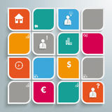 Round Colored Quadrates Bevel Square Design Stock Image