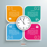 Round Colored Quadrates Template 4 Options Clock Centre. Template rectangles design with a clock on the grey background stock illustration