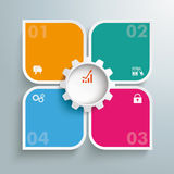 Round Colored Quadrates Template 4 Options Gear Centre Royalty Free Stock Photo