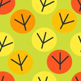 Round colored trees in autumn. flat Seamless pattern. In bright colors. Children vector illustration Royalty Free Stock Photography