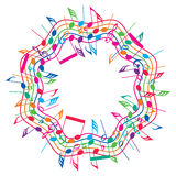 Round colorful background of music notes, vector  Royalty Free Stock Photo