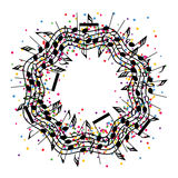 Round colorful background of music notes, vector  Royalty Free Stock Images