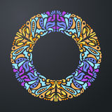 Round colorful bright ornamental frame on dark background. Vector illustration Stock Image