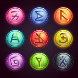 Round colorful buttons with fantastic symbols Royalty Free Stock Images