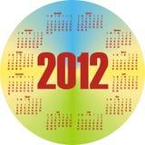 Round colorful calendar 2012. In vector Stock Photos