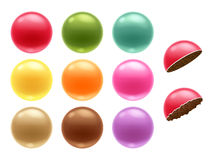 Round colorful chocolate dragee candies set. Royalty Free Stock Photos