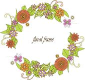 Round colorful hand drawn flowers frame on white Royalty Free Stock Image