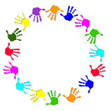 Round colorful hand frame Stock Image