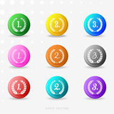 Round colorful medals with laurel wreaths Stock Photography