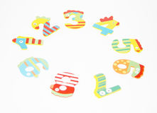 Round of colorful numbers children on white background Royalty Free Stock Images