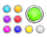 Round colorful shiny icon set Royalty Free Stock Photography