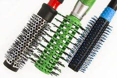 Round comb for styling and curling hair. Stock Photography