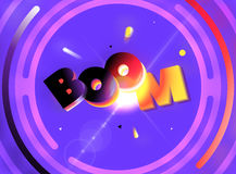 Round comic BOOM banner. Motion explosion vector background. Stock Image