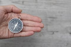 Round compass in hand royalty free stock photos