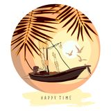 Round composition with a boat, palm leaves and flying gulls against the backdrop of the setting sun. Vector image in yellow and orange colors isolated on white Royalty Free Stock Photos