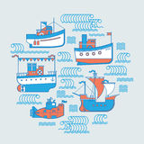 Round composition with boats. Stock Image