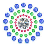 Round composition colored gems set. Set of colored located on a circle gems isolated on white background, vector illustration stock illustration