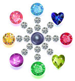 Round composition colored gems set stock illustration