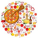 Round composition pizza. Food, Italy. Vector illustration on white background stock illustration