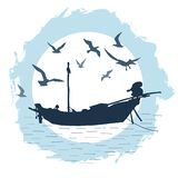 Round composition with the silhouette of a fishing boat and flying birds against the backdrop of a big moon. Vector image in blue color isolated on white Stock Photo