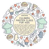 Round concept of culinary master class for kids. Doodle style elements and sample text. Suitable for advertising; invitation; banner or card vector illustration