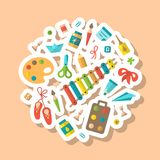 Round concept with things for kids creative activity. Flat style vector illustration vector illustration