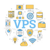 Round concept of Virtual Private Server. Vector linear round concept of Virtual Private Server - VPS. Isolated illustration with outline icons in blue and yellow Stock Photos