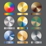 Round cone metal gradients set. Vector illustration for designer. Mesh grid. Stock Image