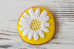 Round cookie with flower picture. Stock Photos