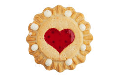 Round cookie with a heart of jam Royalty Free Stock Image