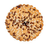 Round cookie with sesame and flax seeds Stock Images