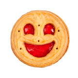 Round cookie with smile isolated Stock Photography