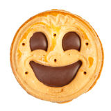 Round cookie with smile isolated Royalty Free Stock Photo