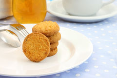 Round cookie stack plate Stock Image