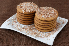 Round cookies with chocolate Stock Images