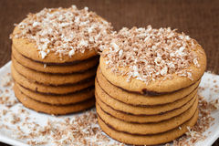 Round cookies with chocolate in a plate Stock Images