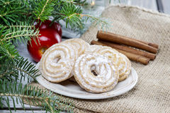 Round cookies on christmas eve table Royalty Free Stock Photography