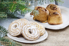 Round cookies on christmas eve table Royalty Free Stock Photo