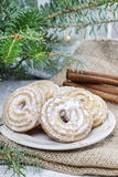Round cookies on christmas eve table Stock Images
