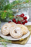 Round cookies on christmas eve table Royalty Free Stock Image
