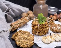 Round cookies made from oat flakes and bananas Royalty Free Stock Images