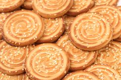 Round cookies with sesame seeds. Stock Photo