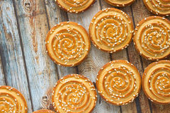 Round cookies with sesame seeds Royalty Free Stock Images