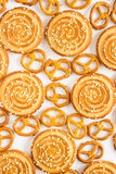 Round cookies with sesame seeds and figured cookies Stock Image