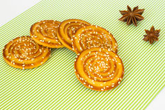 Round cookies with sesame seeds and star anise Stock Photo