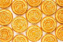 Round cookies with sesame seeds Stock Photo