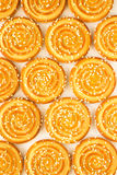 Round cookies with sesame seeds. Top view Royalty Free Stock Photo