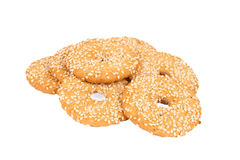 Round cookies with sesame seeds on white Royalty Free Stock Photography