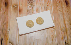 Round cookies stack on a white plate, powder sugar Royalty Free Stock Photos